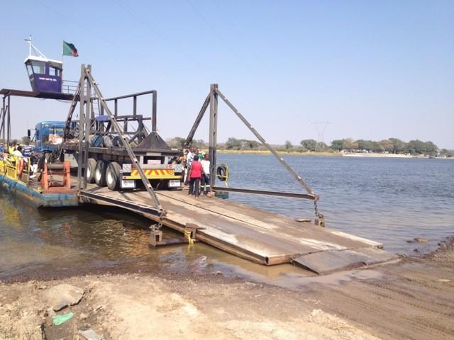 Car ferry at Zambia - Botswana border