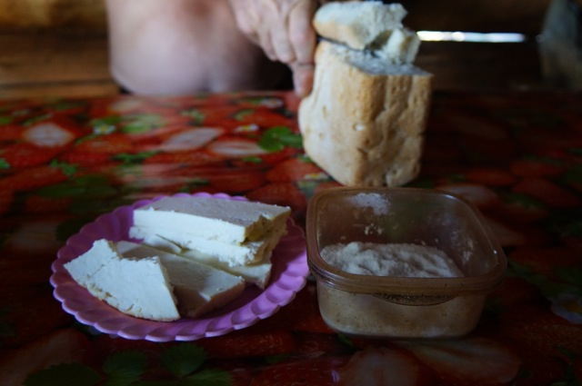 Homemade cheese and bread from local farm