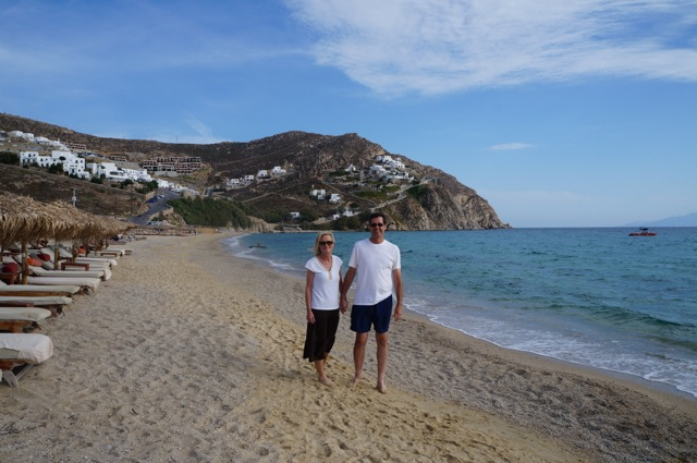 Mom and Dad walking Elia Beach