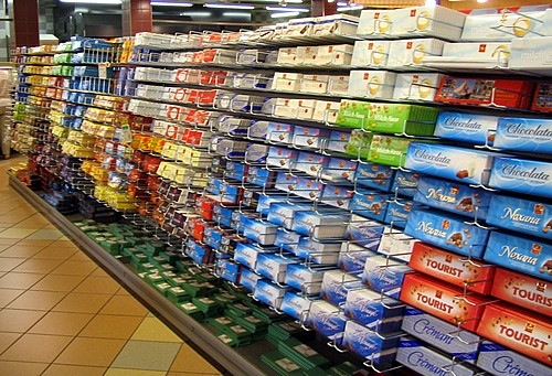 Chocolate aisle at Swiss supermarket