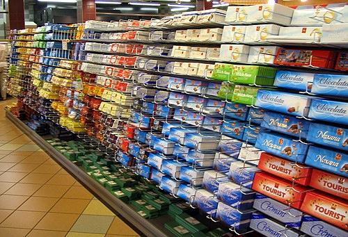 Chocolate aisle at Swiss supermarket