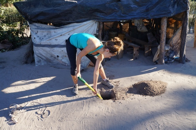 Kat contributing to worthwhile hut building project